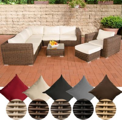 Poly Rattan Lounge Set Ariano 5 Mm Rund Geflecht Alu Gestell