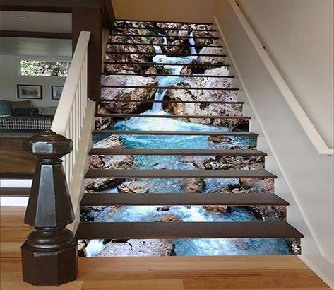 3d Flowing Creek 1644 Stair Risers Aj Wallpaper Dolly