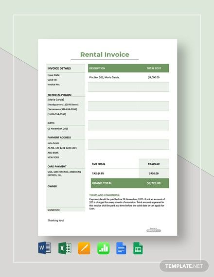 Simple Rental Invoice Template Free Pdf Word Excel Apple Pages Google Docs Google Sheets Apple Numbers Invoice Template Invoice Design Template Invoice Design