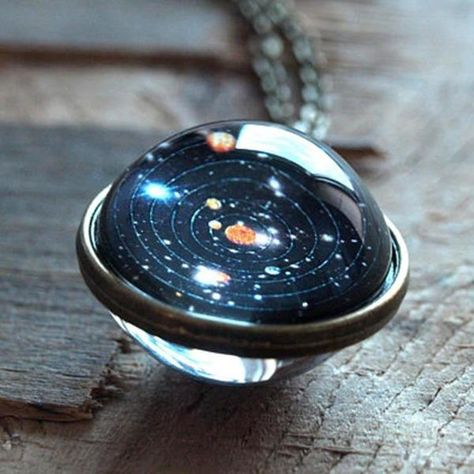 Handmade Glass Ball Solar System Galaxy Pendant Moon Space Universe Necklace New - Moon - Handmade Glass Ball Solar System Galaxy Pendant Moon Space Universe Necklace New Price :