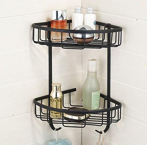 Hiendure 2 Tiers Wall Mounted Solid Brass Corner Shower Shower