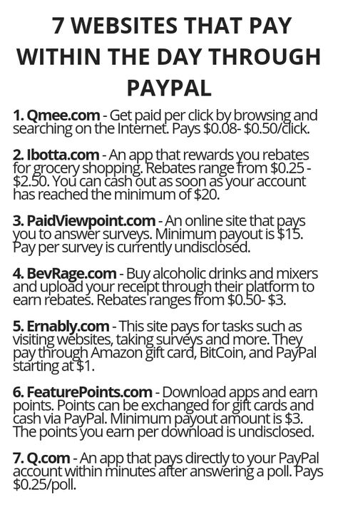 7 Websites That Pay Within The Day Through PayPal