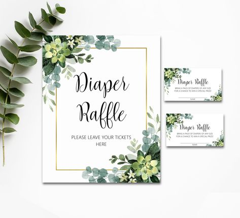 Baby Diaper Raffle Ticket Printable Greenery Baby Shower Invitation Enclosure Cards Baby Shower Diaper Raffle Card Instant Download Leaf CG2