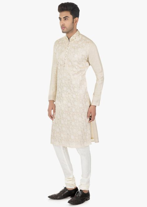 Ivory Kurta In Silk And White F29Chudidar Set Online