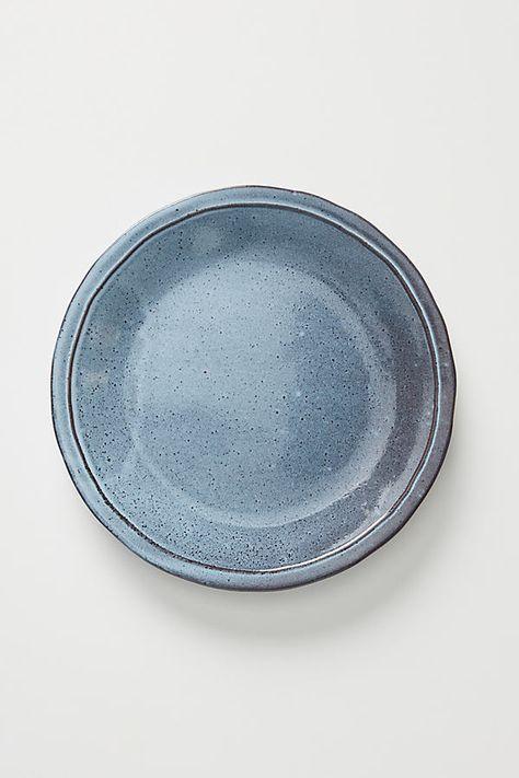 Alba Dinner Plates, Set of 4 by Gather Anthropologie in Blue, Dinnerware