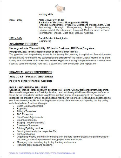 excellent - Sample Of Excellent Resume