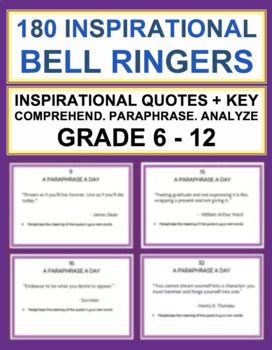 English Bell Ringer For Middle School And High Inspirational Quote Student Writing Standards Paraphrase Essay