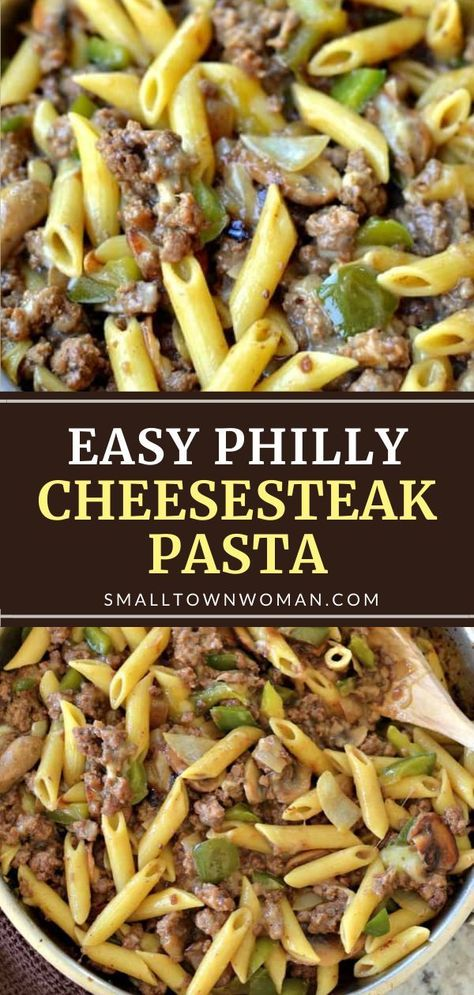 An easy recipe for busy families! Philly Cheesesteak Pasta can be ready in 30 minutes and has only 10 ingredients. Packed with mouthwatering goodness from ground beef, green peppers, mushrooms, and creamy provolone cheese, this quick pasta dish makes a filling dinner!