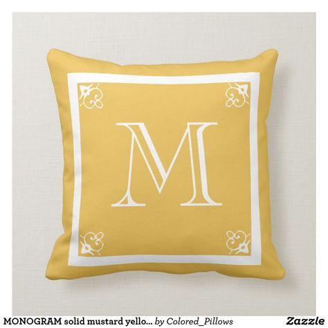 Monogram Solid Mustard Yellow Custom Throw Pillow Yellow