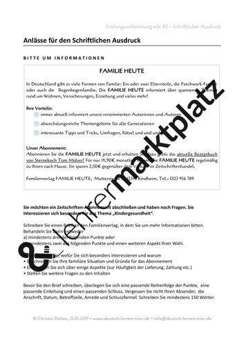 B2 Schriftlicher Ausdruck 4 Briefe Bitte Um Informationen Beschwerde Bewerbung Anmeldung Unterrichtsmaterial Im Fach Daz Daf Briefe Schreiben Satzbau Schreibaufgaben