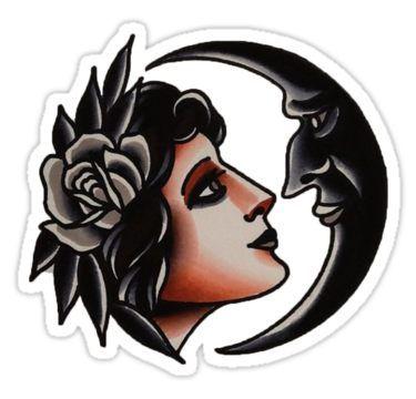 Crescent Girl flash tattoo Sticker