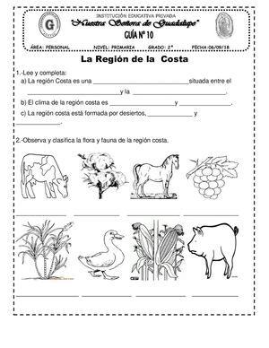 La Region Costa 34 Modalidades De Lectura Ciencias De La Naturaleza Hojas De Trabajo Preescolar
