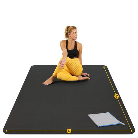 Unique Features of our Giant Yoga Mats: High Density 8mm Padding for Joint Cushioning and Support Unique Dot Pattern for Unslippable Grip on all Floors, Including Rug, Wood, Tile, and Concrete Easy to Clean, Roll Up, Store, and Carry Barefoot Use ONLY - Made from Durable Materials that Last for Years Includes: 1 extra large Yoga Mat, Carry Bag, 2 Velcro Straps for Easy Storage, and Microfiber Towel This Large Yoga Mat is Good For You, Better For Your Body Something important is being overlooked