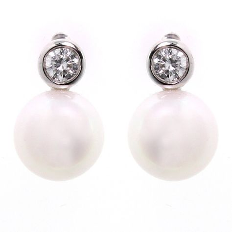 Matt Aminoff 18ct White Gold Cultured Pearl Diamond Stud