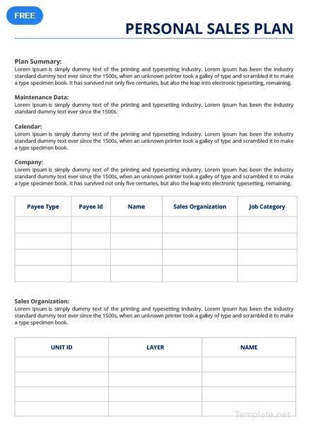 Free Personal Sales Plan How To Plan Free Personals Templates