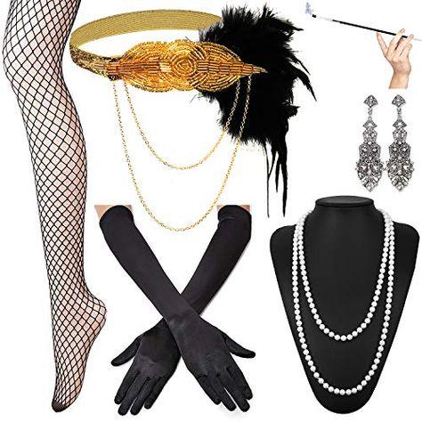1920s Accessories Headband Earrings Necklace Gloves Holder Flapper Costume Women
