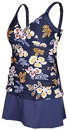 JINXUEER Plus Size Swimsuits Ruched Modest Swimdress Floral Tankini Swimwear Two Piece Skirt Bathing Suit for Women