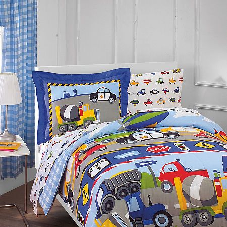 Dream Factory Trains Trucks 5 Pc Twin Comforter Set Twin