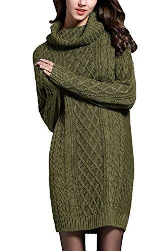 Pullis Fur Damen Frauen Rollkragen Pullover Kleid Aus Springer Grune M Pullover Stricken Langarm Tunika Rollkragenpullover Damen