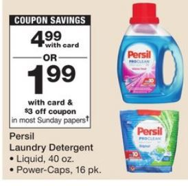 One Free Persil 40oz Liquid Or 16 Count Power Caps At Cvs 1 99