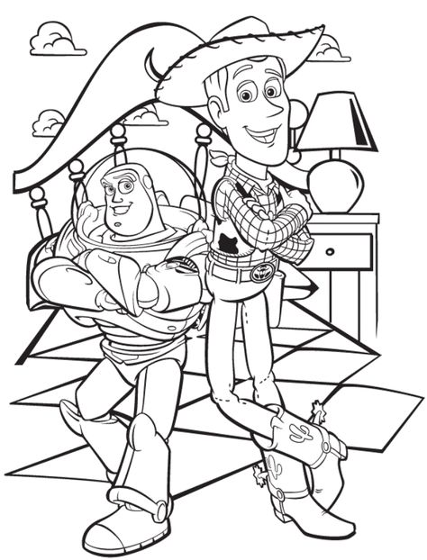 Toy Story Sheriff Woody And Buzz Lightyear Coloring Page Paginas