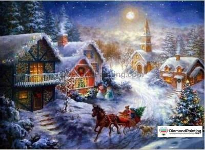 Winter Happy Holiday Landscapes Diamond Painting Kit   Free
