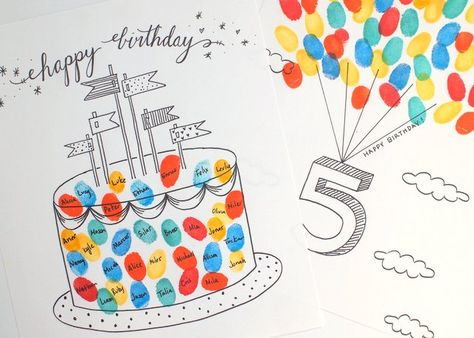 """Free Printable Fingerprint Birthday Cards   Pink Stripey Socks Just print out the birthday cake fingerprint birthday card and have guests """"sign"""" with their fingerprints and their names."""