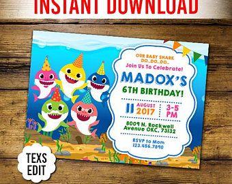 Baby Shark Invitation Etsy Shark Birthday Invitations Shark Birthday Party Invitation Shark Themed Birthday Party