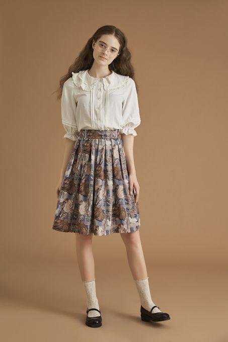 4613192481f33 Outdoor activities~Lots of rabbits Printing Sweet Lolita Skirt ...