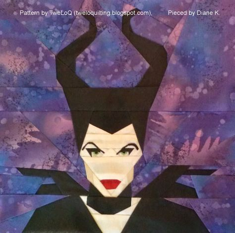 Fandom In Stitches: Maleficent, a free paper pieced pattern by Alida (TweLoQ). fandominstitches.com