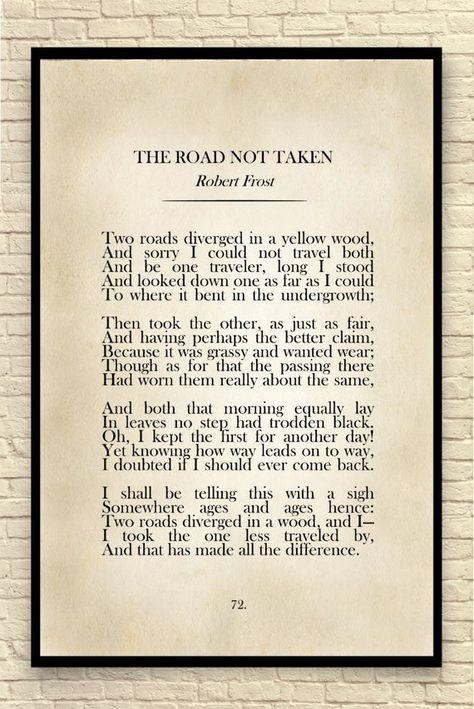 Robert Frost Print, Robert Frost Quote, Custom Art Print, Book Page Print, The Road Not Taken, Class
