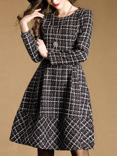 Tweed Dress Winter Dresses 2015 Long Sleeve Pin Up Plaid Dress Plus Size Women Clothing Vintage Retro Robe Hiver Vestidos