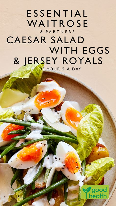 Upgrade the classic Caesar salad with perfectly cooked free-range eggs, green beans and delicious in-season Jersey Royal potatoes.   Tap for the full Waitrose  Partners recipe.