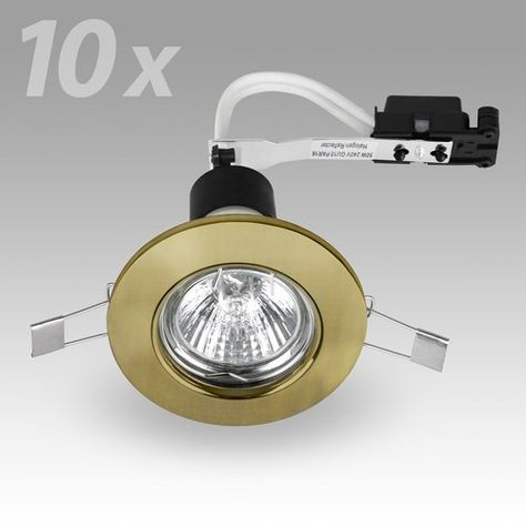 6 x MiniSun Modern Antique Brass Recessed GU10 Ceiling Downlight Fitting 3000K Warm White Complete with 6 x 5w GU10 LED Bulb