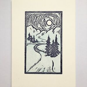 Details about Winterland original linocut print, matted x Lino Art, Woodcut Art, Linocut Prints, Intaglio Printmaking, Linoleum Block Printing, Linoprint, Chalk Pastels, Woodblock Print, Art Lessons