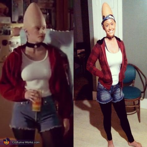 Connie and Beldar Coneheads - Halloween Costume Contest via Holly: We love the movie so we had to bring it back! Bought the cones and cut out the ears. Used a bald cap and latex to make it blend.