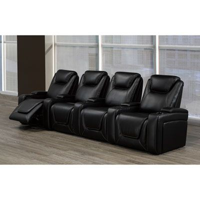 Sorrento 4 Seat Faux Leather Power Recliner Home Theatre Seating