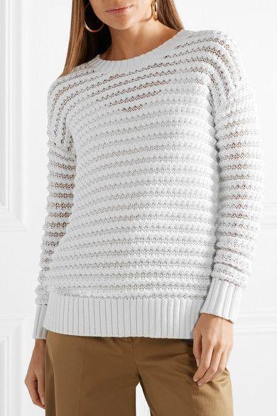 White Open knit cotton blend sweater | MICHAEL Michael Kors