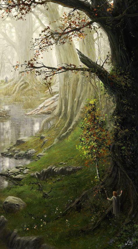 Environment study 06 - A hidden grove by https://www.deviantart.com/woutart on @DeviantArt