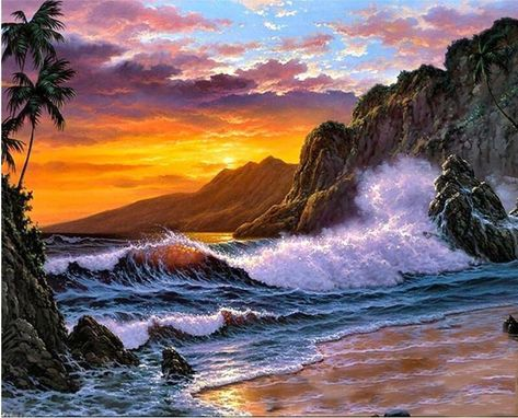 Art DIY By Number Kit Oil Painting Scenery Seascape Landscape Ocean Hand Painted
