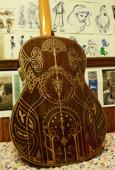 Lord of the Rings illustrated guitar. Not for sale as far as I can see, but oh, if it was, it would surely be MINE :) #autism #aspergers