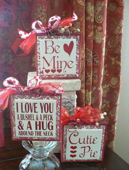 Va-Va-Voom Valentine wood block with vinyl saying Be Mine  by huckleberrylady,