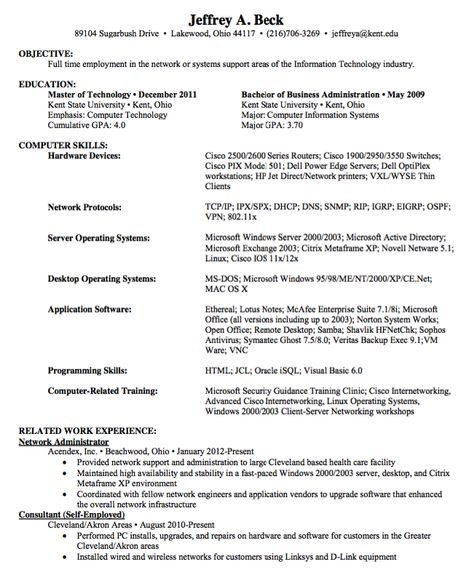 Junior Network Administrator Resume Administrative Resume - junior network engineer sample resume
