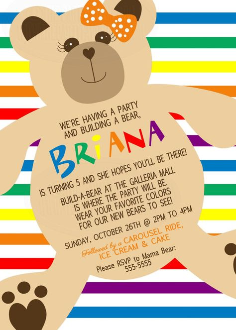 Bear Birthday Invitation with picture Pink Girl Girly Build-a-Bear Chalkboard Teddy Bear Invite
