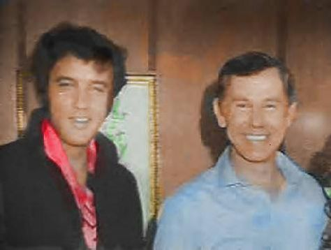 Johnny Carson and Elvis backstage in Las Vegas sometime in 1969