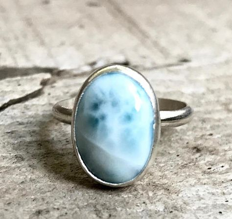 Elegant Light Blue Larimar Sterling Silver Ring | Sea and Sky Larimar Ring | Boho | Solitaire Larima