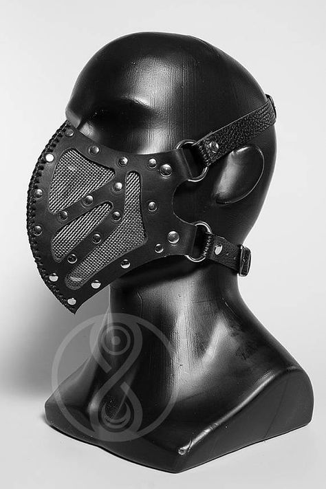 The carved leather mask with steel mesh. On the wrong side has a thin lining of soft leather. size adjustable straps Custom colors possible, ask questions!