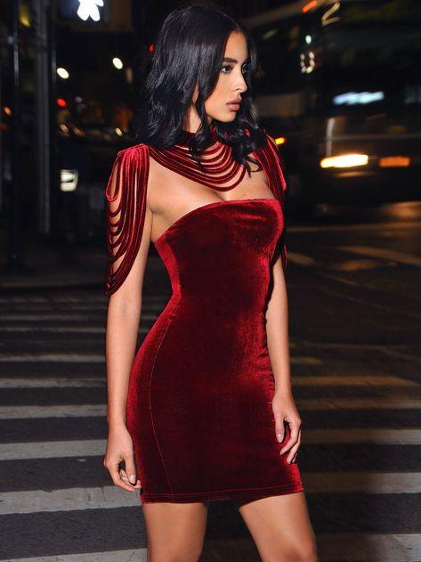 Victoria Removable Collar Stretch Velvet Strapless BodyCon Dress