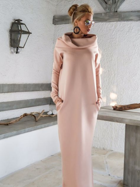 Neoprene Maxi Dress/ Plus Size Dress / Blush Pink Kaftan / Plus Size Maxi / Winter Dress / Dress with Pockets / Turtleneck Dress / Scuba Neoprene Maxi Dress Kaftan with pockets / by SynthiaCouture