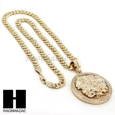 """Mens Jewelry Hip Hop Chain Rhodium plated 36/"""" Chain with Medusa pendant"""